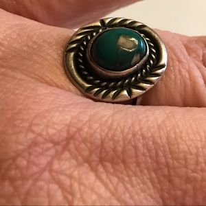 Native American Turquoise Sterling Ring 7 1/2